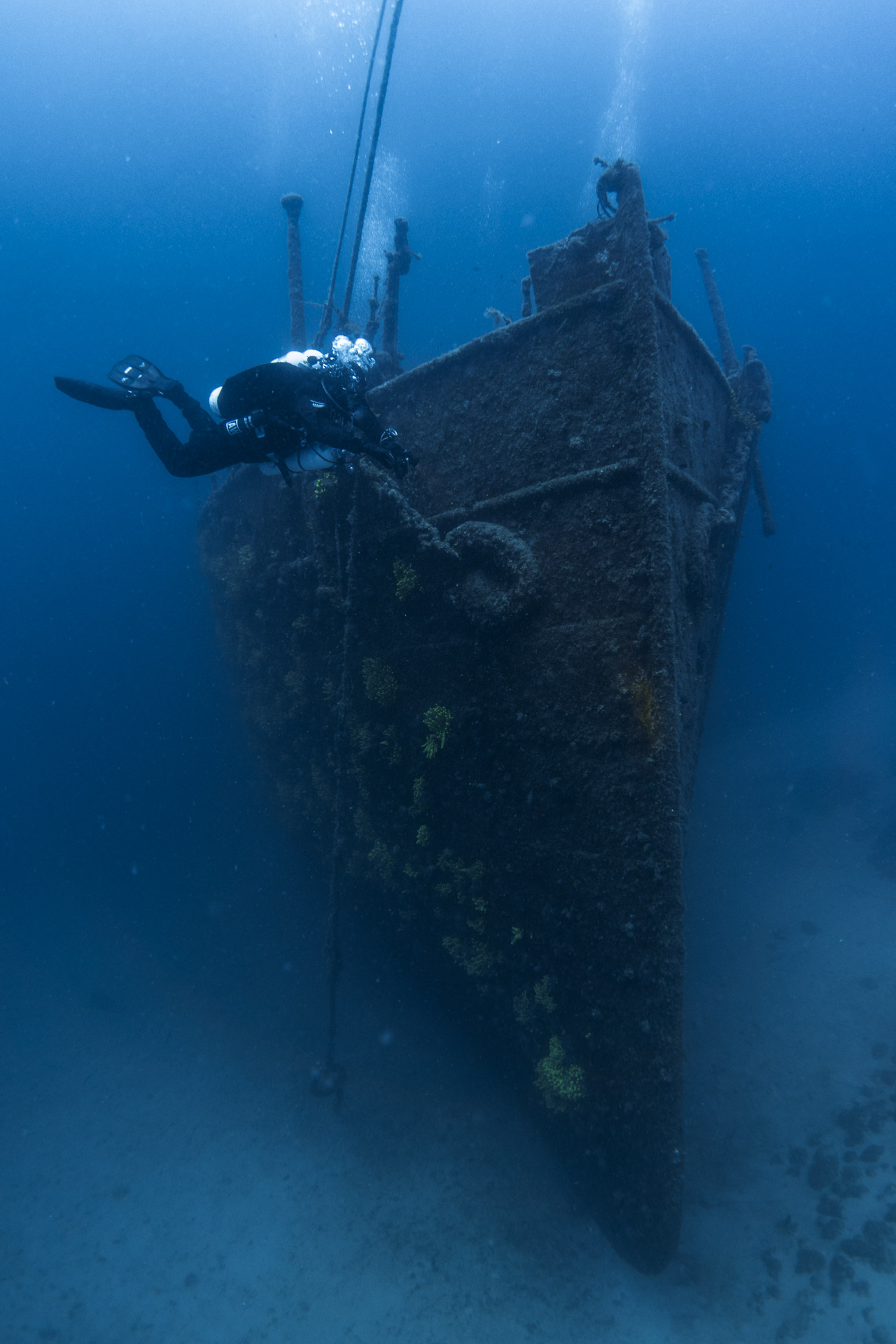 Diver and wreck in Croatia