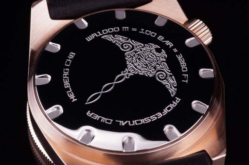 Helberg CH8 Bronze 5th Anniversary Edition caseback with engraved manta ray
