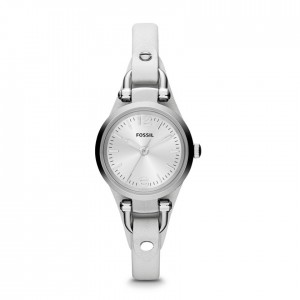 Georgia Mini Three-Hand Leather Watch - White