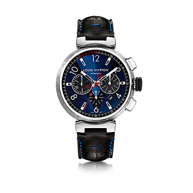 Louis Vuitton men's watch-Tambour Blue Chronograph