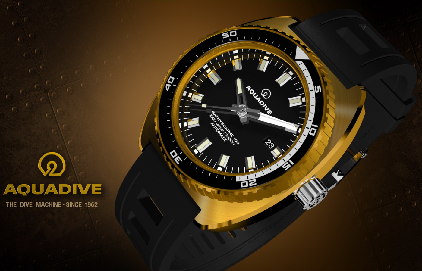 Aquadive dive watch strong water resistance perfect - Bronze dive watch ...