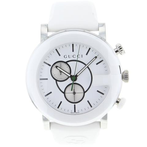 Gucci White Dial Diving Watch With White Rubber Strap