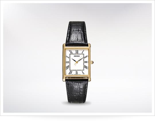 Seiko Rectangle Dress Watch With Black Strap