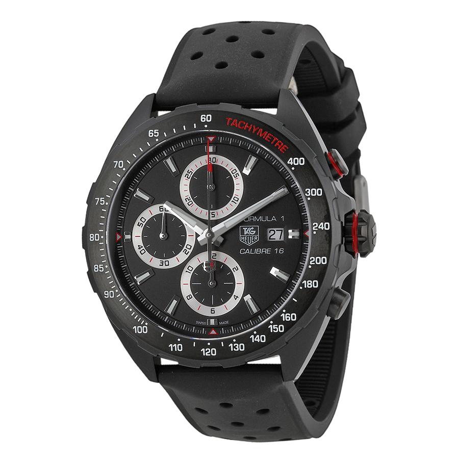 TAG Heuer Chronograph Black Dial Black Rubber Men's Watch