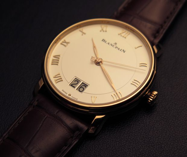 Side of Blancpain New Villeret Grand Date classic watch