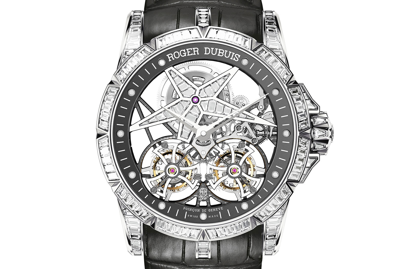 Roger star of infinity dubuis Double tourbillon watch