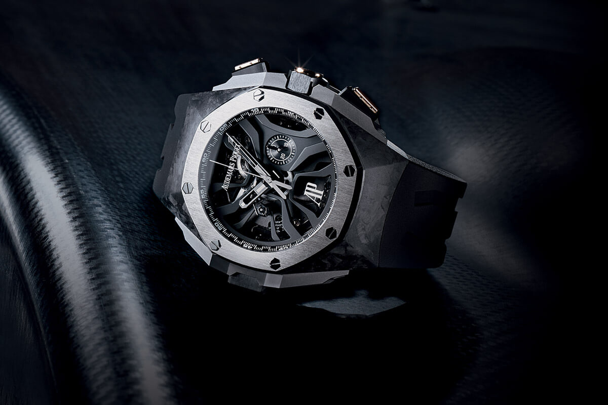 Side of Audemars Piguet Royal Oak Concept Laptimer titanium watch