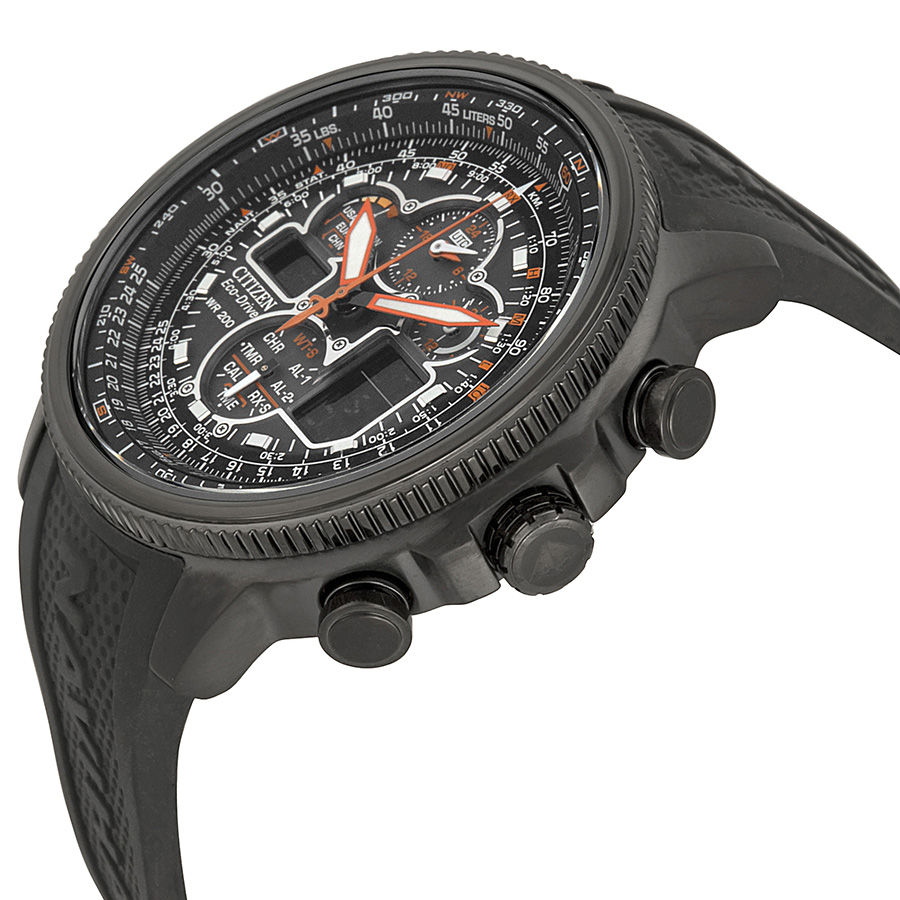 Side of Citizen Navihawk eco-drive solar powered watch