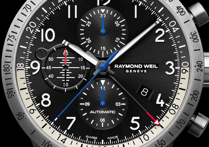Raymond Weil Freelancer Piper Pilot watch dial
