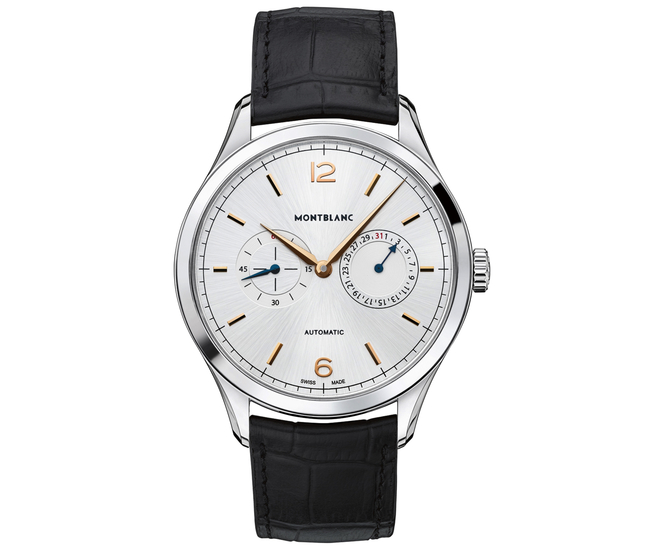 Front of Montblanc Heritage Chronométrie Twincounter Date watch