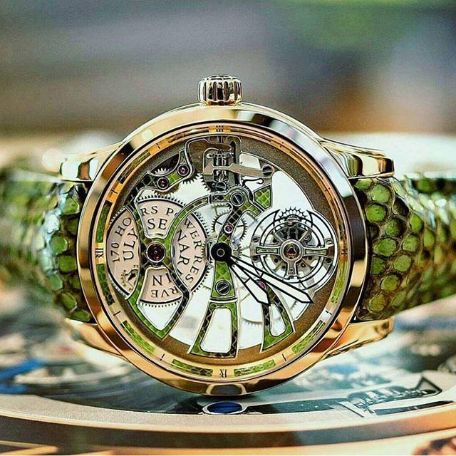 Side of Ulysse Nardin Skeleton Limited Edition Python Leather Strap Watch
