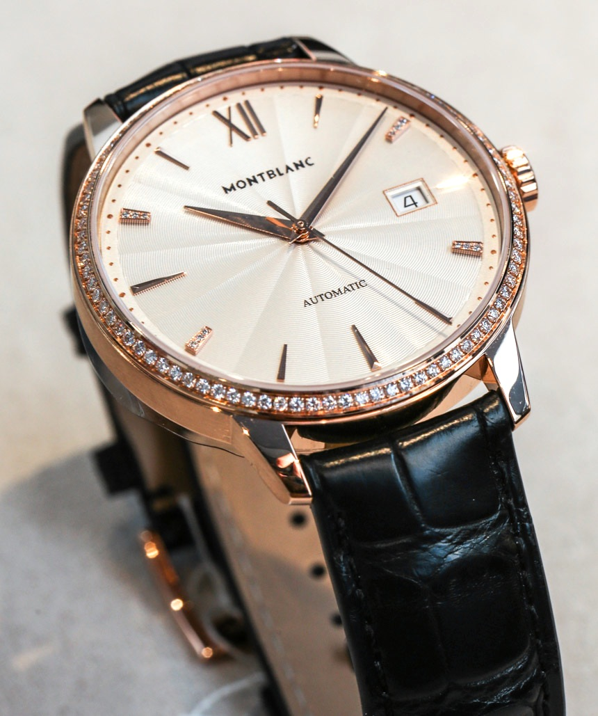 Side of Montblanc Meisterstuck Heritage Spirit Date Automatic diamonds watch 03