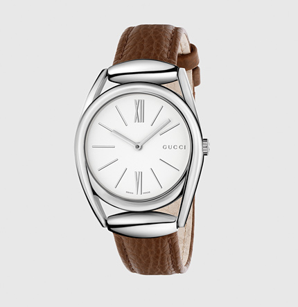 Gucci stainless steel &leather watch