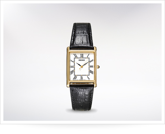 Seiko Rectangle Dress Watch With Black Strap