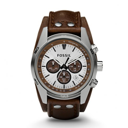 Fossil stainless steel quartz movement with brown strap