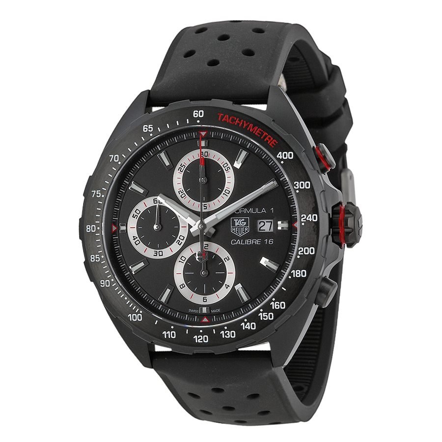 TAG Heuer Chronograph Black Dial Black Rubber Men's Watch