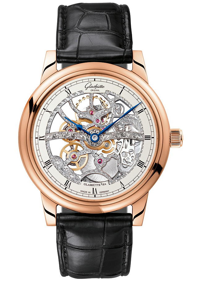 Glashutte Rose Gold Original Skeletonized Edition Watch