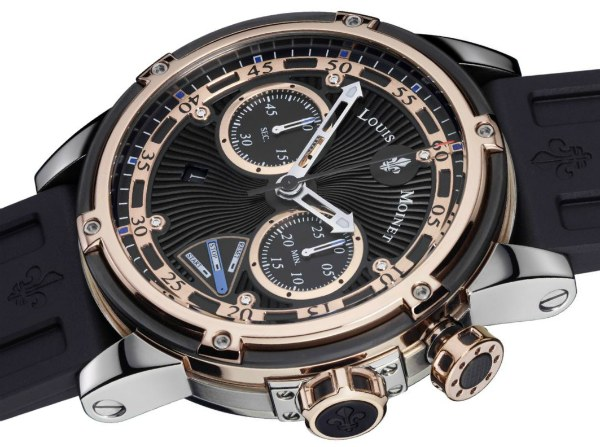 Side of Louis Moinet Jules Verne Instrument III 18k rose gold watch 02