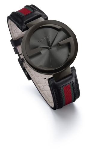 Side of Gucci interlocking black ladies watch