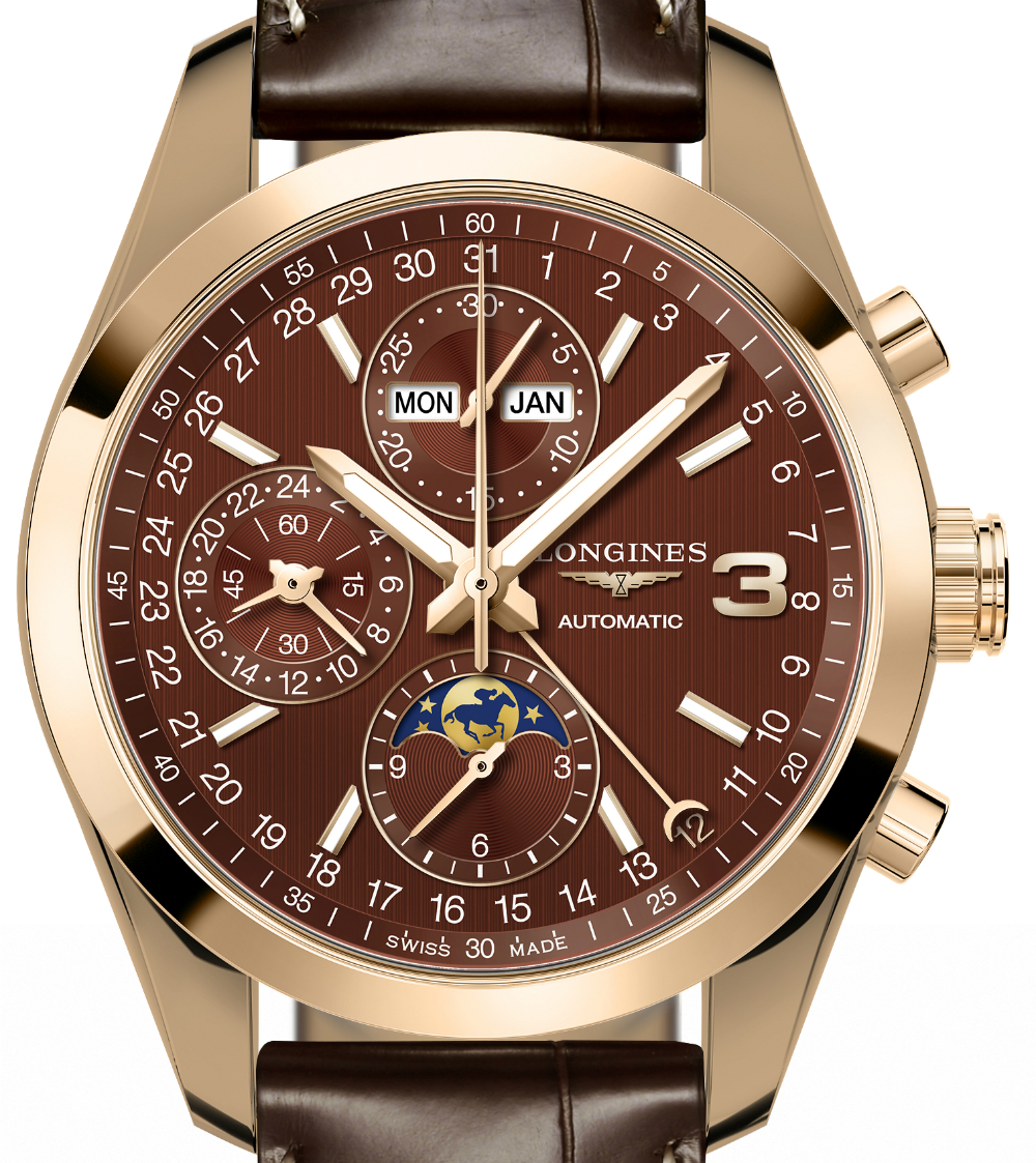 Front of Longines Conquest Classic Triple Crown Limited Edition 02