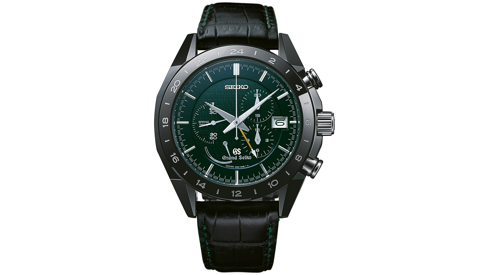 Front of Grand Seiko Spring Drive Chronograph Black Ceramic Edition